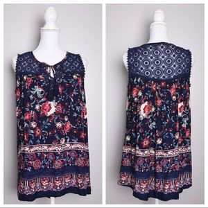💕5for$25💕Knox Rose Floral Embroidery Top Navy